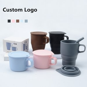 300ml Custom Logo Best Adult And Mam Sippy Cup Portable Foldable Collapsible Drinking Foldable Silicone Coffee Cup Mug With Lid BPA Free