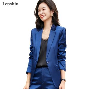 Lenshin 2 Piece Set Women Smooth Pant Suits Office Lady Work Wear Solid Female single Button Blazer with Ankle-length Pant