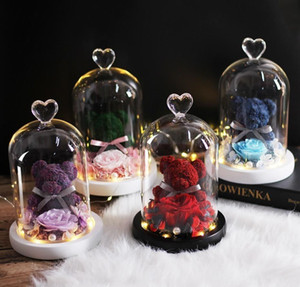Teddy Bear Rose Flowers In Glass Dome Christmas Festival Diy Cheap Home Wedding Decoration Birthday Val wmtCGJ dh_garden
