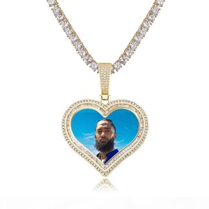 Trendy Iced out CZ Heart Shape Custom Photo Medallions Pendant Necklace Vintage Style Heart Shape Photo Frame