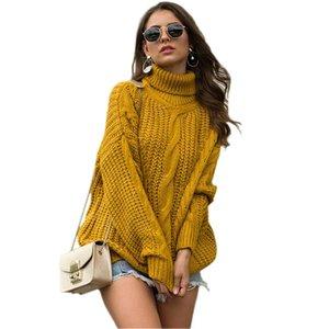 Oloey Толстых Twist Thread Водолазка 2020 осень зима нового вязать пуловер Женщин Крупногабаритных Толстые Хэллоуин свитер женщины