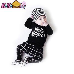 Newborn Clothes Baby Boy Infant Cotton Long Sleeve Letter Little Boss T-shirt Pants Kids 2Pcs Suit New Born Boys Clothing Set Y200803