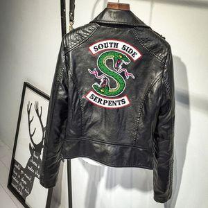 Riverdale Ceket Güney Yan Ceket Serpens Riverdale Southside PU Deri Ceket Yılan Kadın Streetwear Deri Dış Giyim Coat Y1112