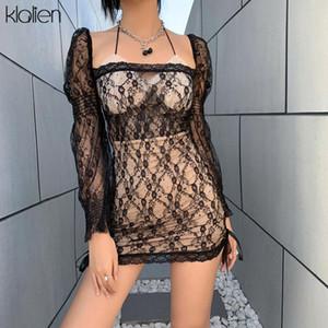Klalien 2021 Spring Sexy Black Lace Patchwork Party Club Vacation Vacation Playa Vestido Mujer de manga larga Vendaje Cuello cuadrado Vestido Nuevo