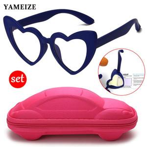 YAMEIZE Kids Anti Blue Light Glasses Case Set TR90 Silicone Optical Frame Boys Girls Computer Eyeglasses Student Blocking Glass