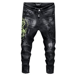 Men Straight Washed Jeans Denim Black Fall Winter New Tattered Cat Must-Hot Rhinestone Tight Stretch Men Pants