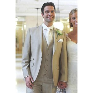 2020 new Beige Men Wedding Suits Prom ternos Tuxedo Slim Fit 3 Pieces Groom Style mens Suit Custom Blazer Terno Masuclino