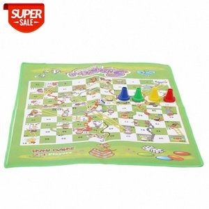 Snake and Ladder Kids Children Portable Flying Chess Ludo Board Family Game # OE7T