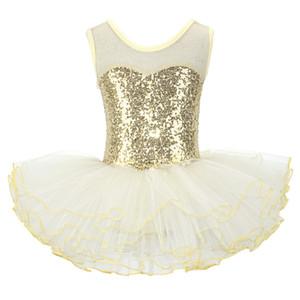 Nice Girls Ballerina Fairy Prom Party Costume Kids Sequined Flower Dress Dancewear Gymnastic Leotard Ballet Tutu Dress 200928