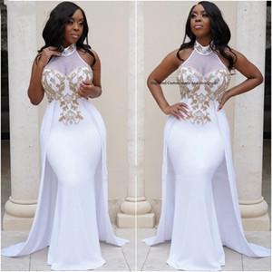 2021 White Chiffon Prom Dresses High Collar Overskirt Arabic Party Dress Gold Beading Mermaid Dubai Kaftan Evening Dresses Long Formal