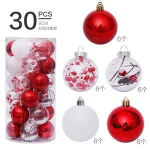 Ev Noel ağacı kolye süsleri için 6cm30pcs yılbaşı süsleri Yuvarlak şeffaf top plastik süsler 201017 kırmızı