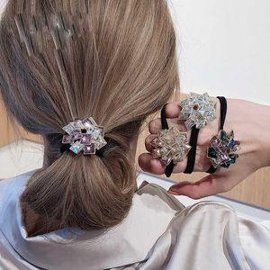 Korean Exquisite Elastic Hair Band Crystal Rhinestone Head Rope Luxury Elegant Fashion Design Ponytail Tie Scrunchies Accesorios