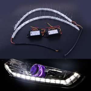 CITALL 새로운 12V 자동차 헤드 라이트의 눈물 눈 듀얼 컬러 (16) LED DRL 유연한 스트립 빛 신호 램프 빛 순차 동적을 돌려
