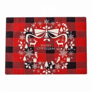 بياضات عيد الميلاد placemat 30 * 40 سنتيمتر الأحمر والأسود شعرية عشاء عيد الميلاد placemat merry عيد الميلاد رسائل مطبوعة الجدول حصيرة HWC1872