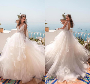 2019 Summer Beach Wedding Dresses Gowns A Line V Neck Aperti sexy indietro pannello esterno a file Lace Backless nuziale vestito di maternità BC0512