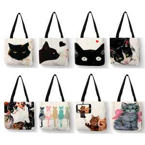 Customize Tote School Fabric Womens Print Shopper Designer Cat Shopping Eco Bag Cute Painting Bags Watercolor Book Reusable Uprgl