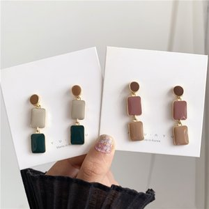 2021 simple retro geometry square S925 silver needle bump color French retro earrings port-girl color earrings drop oil earrings