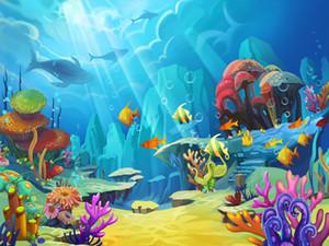 Sfondi Cartoon Underwater World Bambini Fotografia vinilici Fondali bambino appena nato Birthday Photo Booth per Party bambini Studio Props