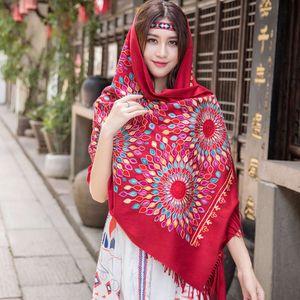 Scarlet cashmere like wool annual meeting scarf women autumn and winter silk scarf Embroidery Wedding Dress Bridal Shawl versatile dual