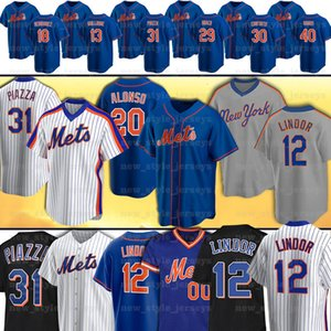 12 Francisco Lindor 20 Pete Alonso 48 Jacob Degrom 31 Mike Piazza 17 Keith Hernandez 52 Yoenis Cespedes 18 Darryl Morango Beisebol Jersey