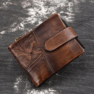 RFID Crazy Horse Cow Leather Wallet Men Portomonee Card Holder Coin Purse Zipper Small Male Money Bag Brand Wallets