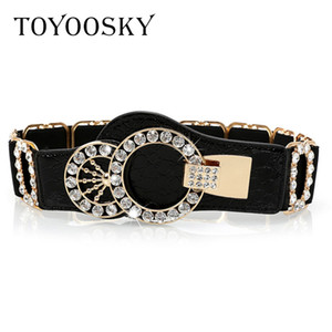 2019 New Arrival Designer Luxury Elastic Women Wide Belt With Rhinestone Belts For Women Ceinture Femme High Quality Toyoosky Y19051803