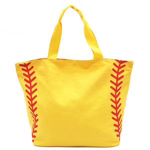 Foldable Shopping Bag Printed Portable Handbags Baseball Tote Softball Basketball Football Volleyball Canvas Bags 8 Style GWF3400