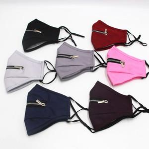 Kreative Zipper Fashion Gesichtsmaske Waschbar Wiederverwendbare Radfahren Schutz Erwachsener Staubdichtes Breathable Sports Designer-Gesichtsmasken KKA1464 Maske