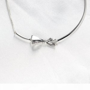 925 Sterling Silver Bowknot Chain Necklaces for Pandora Bow CZ diamond Bracelet with Original Box for Women Girls Free shipping