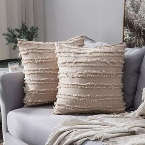 2021 Boho Throw Pillow Case Cotton Linen Striped Jacquard Pattern Cushion Covers for Sofa Couch Living Room Bedroom Decoration AL8074