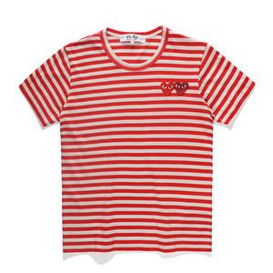 Tide amor marca listrado T-shirt de manga curta para homens e mulheres casais em torno do pescoço da camisa assentamento