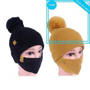 Mode Winter Set für Frauen Mädchen warm Bennie NY Hüte Atmen Schal Pompons Hut mit einer Maske