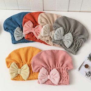 Cabelo 1pcs Mulheres seco toalha de secagem rápida cabelo PAC Super absorventes chuveiro Caps com bowknot Coral Velvet Bath Acessórios
