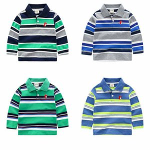 Long Sleeved Tshirts Fashion 2020 Arrival Striped Polo Shirts Kids Designer Clothes Boys Pullever Classic Tops New