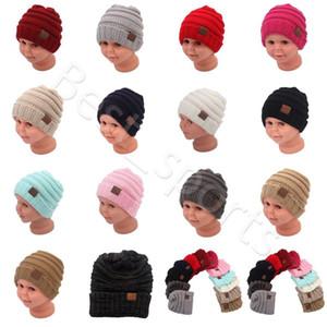 Crianças Gorros Gorro 14 cores mornas do inverno Chapéus do crânio estiráveis Chapéus bebê Malha Caps CYZ2865