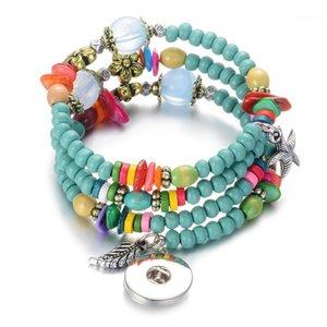 10 teile / los Großhandel Vocheng Holz Schnapparmband 8 Farben Austauschbare Armbänder Fit 18mm NN-710 * 101