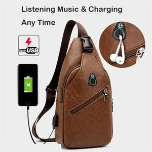 Mens Crossbody Waist Bags Mens USB charging Headphone plug Designer Leather Messenger Shoulder Bag Diagonal Package 2019