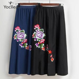 Embroidery Long Skirt Women Spring Autumn Cotton Linen bust skirts Elastic waist summer pleated lady skirts1