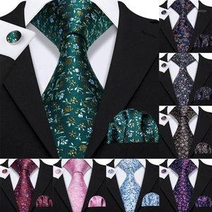 Blumenbändchen für Männer shirts Green Seide Männer Krawatte Taschentuch Manschettenknöpfe Set 15 Farben Neck Tie Barry.Wang Fashion Design S-52301