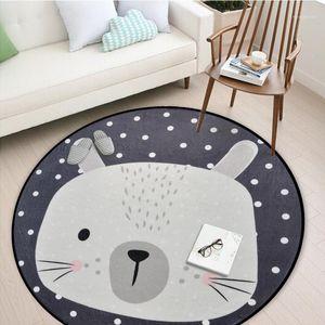 Dream Krain Carpet Salon Cartoon Tapis Gris Mignon Ronde Tapis Rond Decor Tapis de plancher Tapis de chambre pour enfants modernes Chambre à coucher1