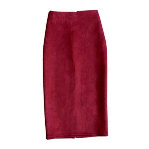 2020 Sonbahar Kış Süet Etek kadın PU Deri Etek Çok renkli Çanta Kalça Katı Renk Yüksek Bel İnce Bölünmüş One-Step Kalem Etek