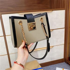Best Luxury Designer Padlock Women Shoulder Bag with Chain Square Lock Canvas Genuine Leather Bow Stripes Distressed Fashion Handbag 5A 2021