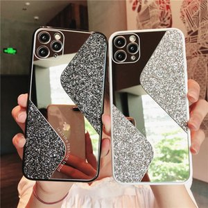 Geometric Sequins Makeup Mirror Phone Case for Iphone 11 Pro Max 7 8Plus Xr Xs Max Glitter Soft Tpu Shockproof Back Cover
