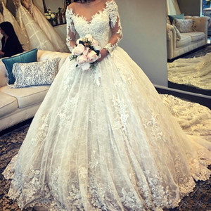 Dubai Arabic Long Sleeves Ball Gown Lace Wedding Dresses 2021 with Appliques Court Train Jewel Neck Wedding Bridal Gowns robes de mariee