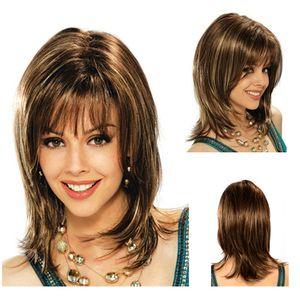 Beautiful European woman white Qi Liuhai short hair chemical fiber head cover.