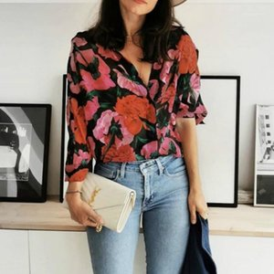 Summer silk elegant shirt loose printed 3 4 sleeve V-neck bubble sleeve top womens tops and blouses casual office ladies tops1