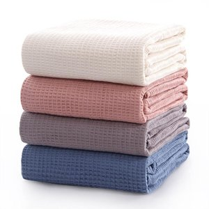 Japan Cotton Waffle Summer Quilt for Sofa Bed Towel Quilt Women Wrap Blanket Nap Blankets Throw Blanket for Car Office