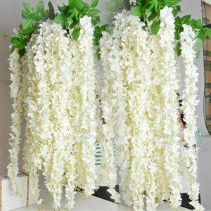 12 24X 3.6 Ft Artificial Silk Fake Wisteria Flowers Vine Ratta Hanging Garlands
