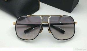 Progettista di marca degli occhiali da sole degli occhiali da sole nero 2087 Titanium Gold Box Gradient Lens uomini nuovi con la Piazza Grey Salht