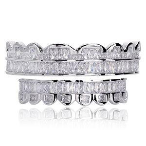 جديد الرغيف الفرنسي مجموعة أسنان جريلز أعلى أسفل الفضة المشوي اللون الأسنان الفم الهيب هوب الأزياء والمجوهرات مغني الراب مجوهرات 30 T2